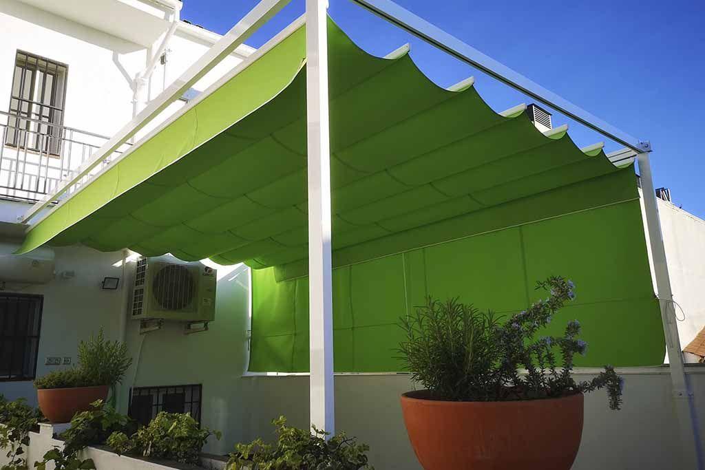 toldo verde para patio